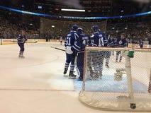 Centro de Air Canada Celebración del juego de los posts de los Toronto Maple Leafs Imagen de archivo libre de regalías