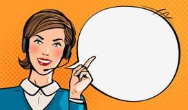 Centro de atención telefónica, atención al cliente, servicio de ayuda o concepto del servicio Chica joven hermosa con las auricul Foto de archivo libre de regalías