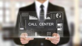 Centro de atención telefónica, concepto futurista del interfaz del holograma, realidad virtual aumentada almacen de metraje de vídeo