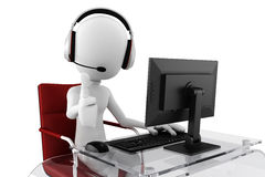 centro de atención telefónica del hombre 3d listo para ayudar Fotografía de archivo libre de regalías