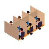 Centro de atención telefónica entrante entrante Ejemplo isométrico del vector libre illustration