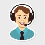 Centro de atención telefónica Hombre Imagen de archivo libre de regalías
