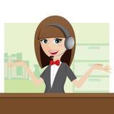 Centro de atención telefónica lindo de la historieta usando el auricular Foto de archivo libre de regalías