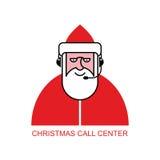 Centro de atendimento de Santa Claus Santa responde aos telefonemas cliente Imagem de Stock