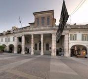 Centro de Brescia en el amanecer, Teatro grande imagen de archivo libre de regalías
