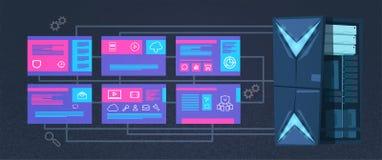 Centro de cómputo de la protección de datos con los servidores de recibimiento infographic, la red y la base de datos, centro de  ilustración del vector