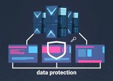 Centro de cómputo de la protección de datos con los servidores de recibimiento infographic, la red y la base de datos, centro de  stock de ilustración