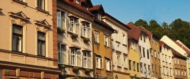 Centro de cidade velho Ljubljana dos edifícios Imagem de Stock Royalty Free