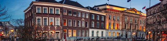 Centro de ciudad antigua de Utrecht, Países Bajos en la noche Imágenes de archivo libres de regalías