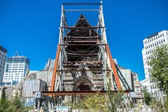 Centro de ciudad de Christchurch, catedral arruinada después del terremoto imagen de archivo libre de regalías