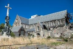 Centro de ciudad de Christchurch, catedral arruinada después del terremoto fotografía de archivo