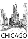Centro de ciudad de Chicago, Illinois, los E.E.U.U. Bosquejo del drenaje de la mano ilustración del vector
