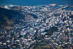 Centro de ciudad de Ciudad del Cabo viwed del vector Mountian Fotografía de archivo libre de regalías