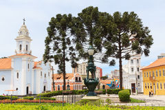 Centro de ciudad de Curitiba, estado Paraná, el Brasil Foto de archivo