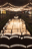 Centro de ciudad de Delft por la noche (luces de Vhristmas) Fotografía de archivo