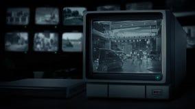 Centro de ciudad del camino de la demostración del monitor del CCTV almacen de video