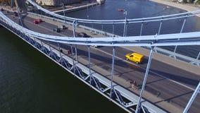 Centro de ciudad del tráfico de coche de Brige wroclaw almacen de video
