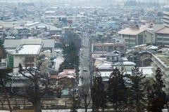 Centro de ciudad en el 28 de febrero de 2014 en Fukushima, Japón Imágenes de archivo libres de regalías