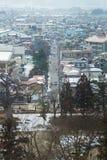 Centro de ciudad en el 28 de febrero de 2014 en Fukushima, Japón Imagen de archivo libre de regalías
