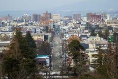 Centro de ciudad en el 28 de febrero de 2014 en Fukushima, Japón Fotos de archivo libres de regalías
