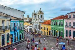 Centro de ciudad histórico de Pelourinho, Salvador, Bahía, el Brasil imagen de archivo libre de regalías