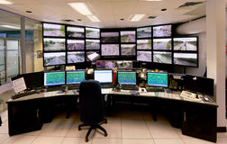 Centro de comando do controlo de tráfico fotografia de stock
