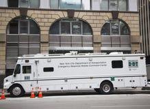 Centro de comando móvel da resposta de emergencia do Ministério do Transporte de New York City durante a semana do Super Bowl XLVI Fotos de Stock
