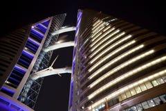 Centro de comercio mundial de Bahrein en la noche, Bahrein Foto de archivo libre de regalías