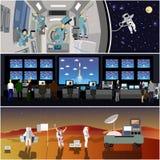 Centro de control de misión espacial Ejemplo del vector del lanzamiento de Rocket Astronautas en la estación espacial y el espaci ilustración del vector