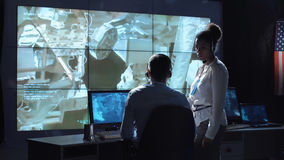 Centro de controle dos cientistas em voo Imagem de Stock