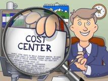 Centro de coste a través de la lupa Doodle el estilo ilustración del vector