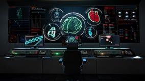 Centro de cuidados médicos humano, sala de comando principal, humanoid, cérebro de varredura no painel da indicação digital opini