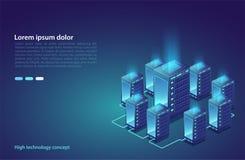 Centro de dados Conceito do armazenamento da nuvem, transferência de dados Tecnologia da transmissão de dados  ilustração do vetor