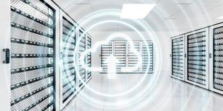 Centro de dados da sala do servidor com rendição azul do ícone 3D da nuvem Imagens de Stock Royalty Free