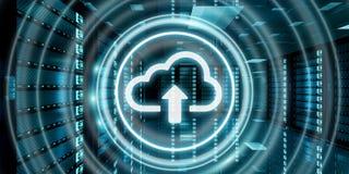 Centro de dados da sala do servidor com rendição azul do ícone 3D da nuvem Fotografia de Stock Royalty Free