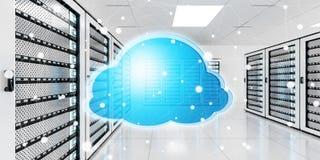 Centro de dados da sala do servidor com rendição azul do ícone 3D da nuvem Foto de Stock Royalty Free