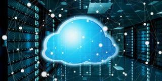 Centro de dados da sala do servidor com rendição azul do ícone 3D da nuvem Imagem de Stock Royalty Free