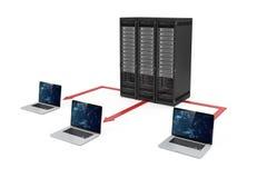 centro de dados do servidor 3d e rede do portátil Imagens de Stock