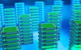Centro de dados futurista Plataforma da analítica de Big Data Processador do quantum na rede informática global fotos de stock