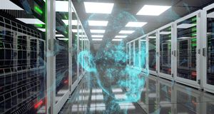 Centro de dados grande do servidor da alta tecnologia com assoalho reflexivo e Plexu ilustração stock