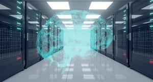 Centro de datos de alta tecnología grande del servidor con el piso reflexivo y Plexu ilustración del vector