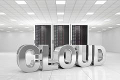 Centro de datos con la nube del cromo Imagen de archivo libre de regalías