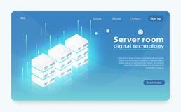 Centro de datos de la nube, icono del sitio del servidor, petición que procesa, informáticas de la información stock de ilustración