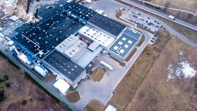 Centro de distribuição e armazém da logística para a logística do varejista do fabricante aéreo imagens de stock royalty free