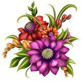 Centro de flores colorido con las hojas verdes stock de ilustración