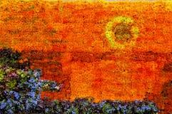 Centro de flores del cuadro de la puesta del sol Fotografía de archivo libre de regalías