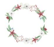 Centro de flores del marco de la Navidad de la guirnalda de la acuarela Jolly Hand Painted Garland Holidays festivo stock de ilustración