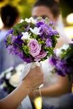 Centro de flores del ramo de la boda Fotografía de archivo