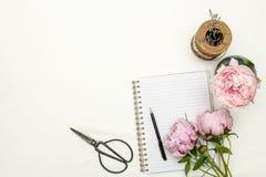 Centro de flores de las peonías con el cuaderno en el fondo blanco Fotos de archivo libres de regalías