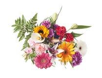Centro de flores mezclado en blanco Foto de archivo